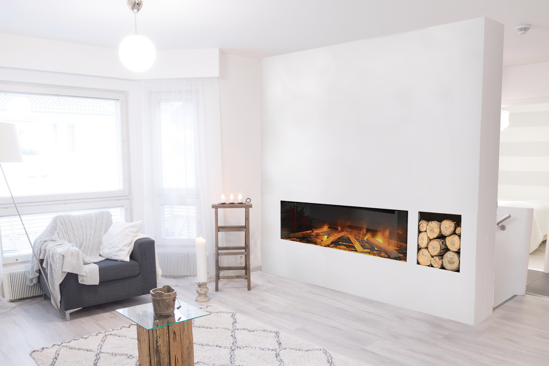 indoor electric fireplace set into wall