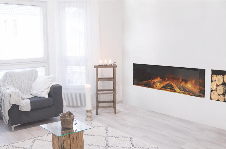 closeup of long indoor electric fireplace set into wall