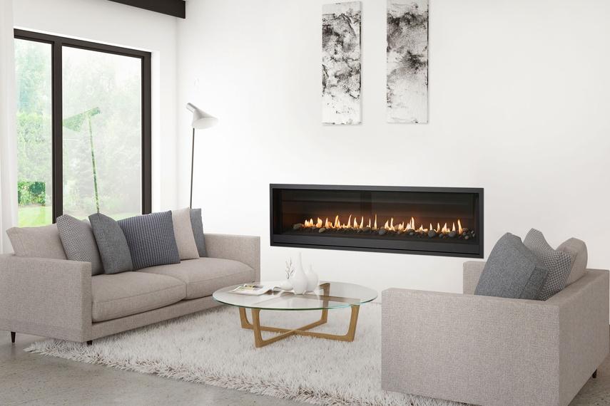 long indoor stylish prefab fireplace set into wall