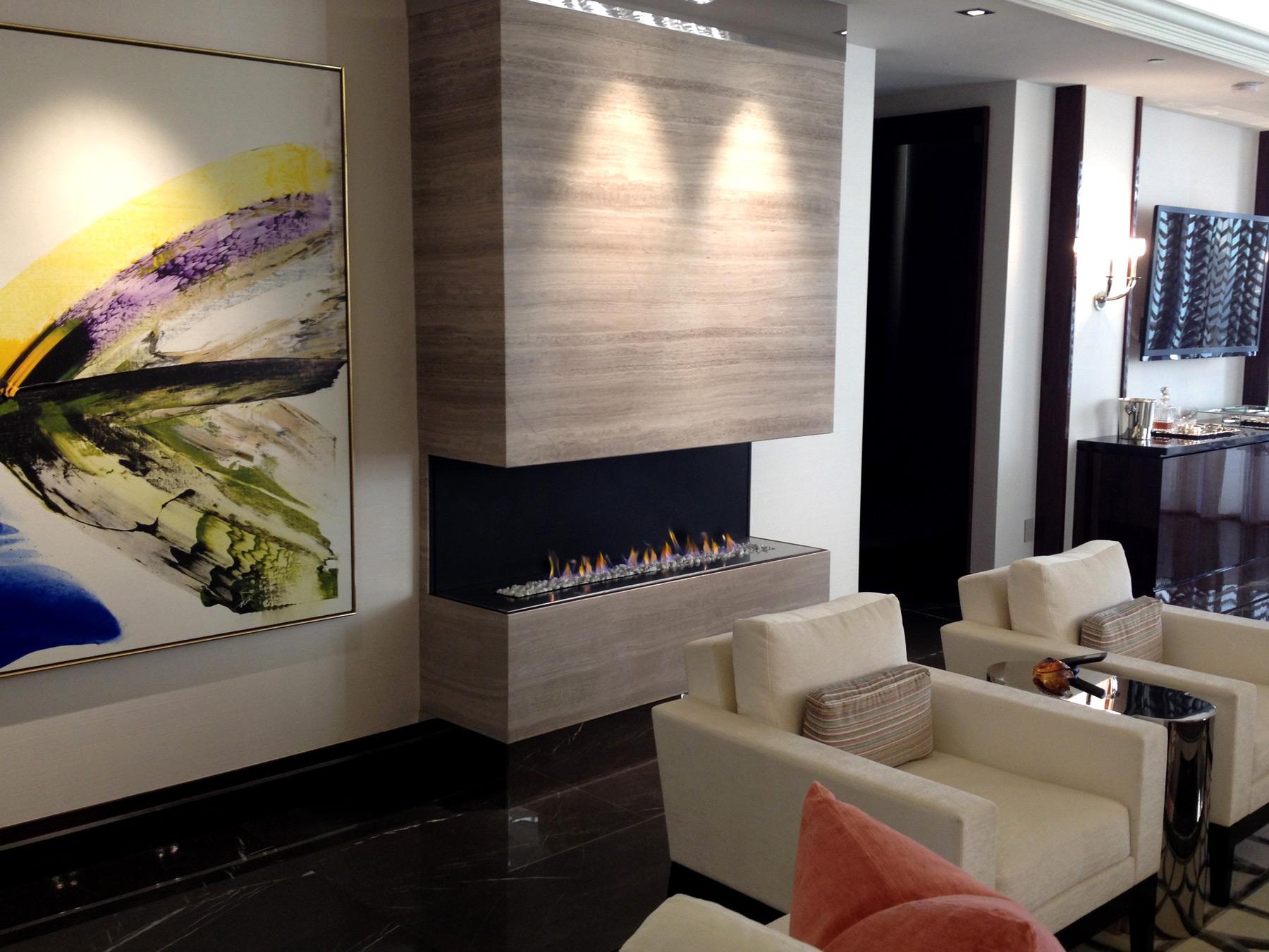long open flame prefab indoor fireplace