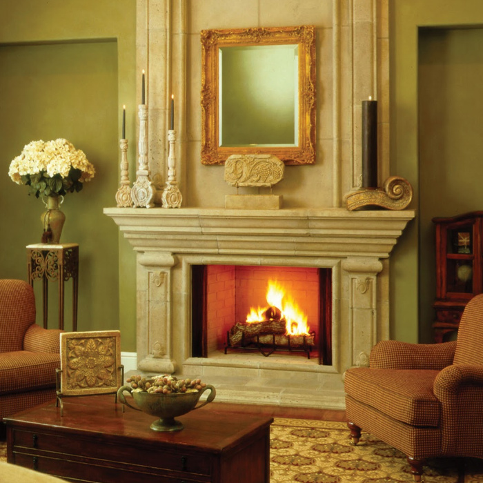indoor prefab fireplace in use in Memphis living room