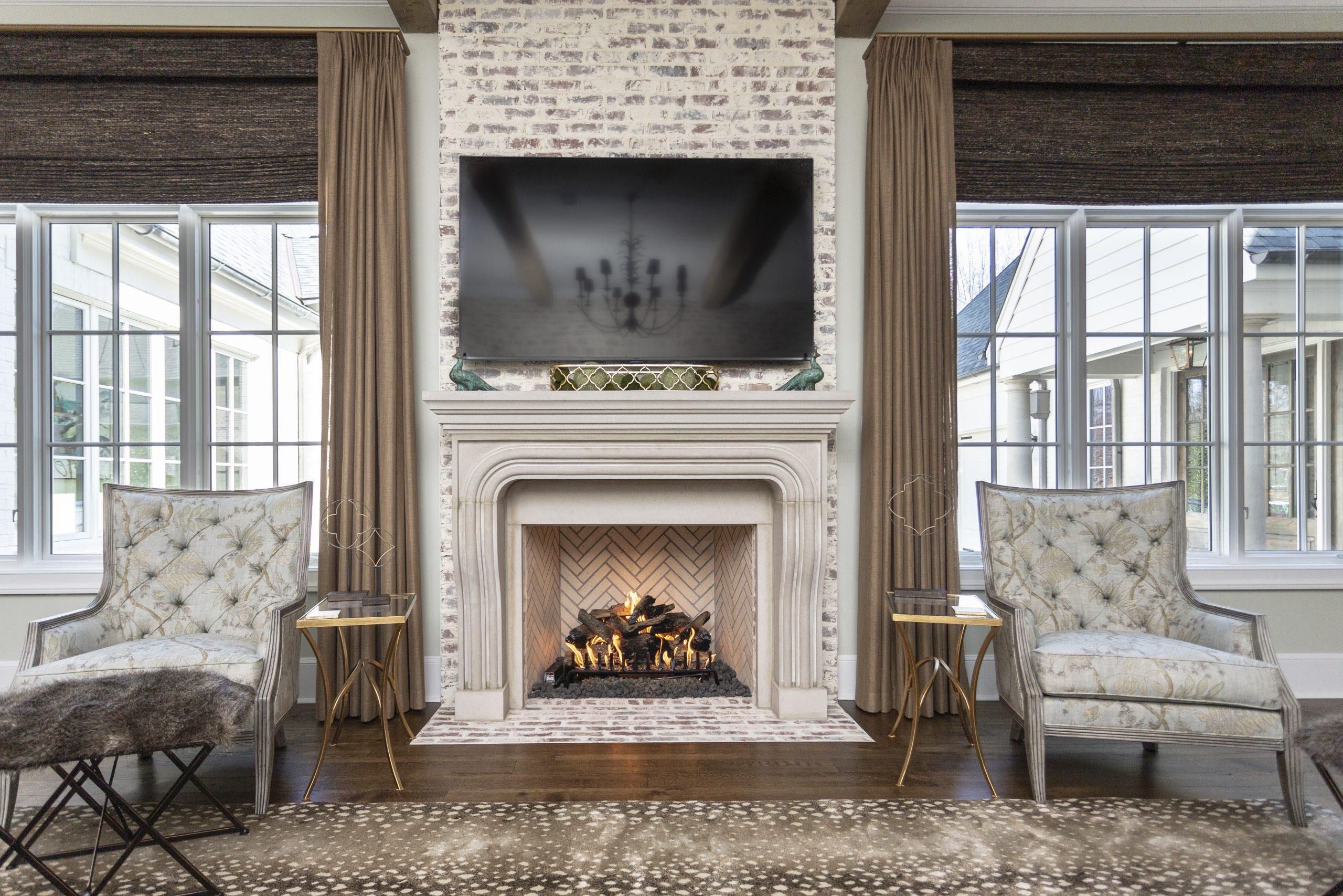 indoor herringbone isokern fireplace in use in Memphis home