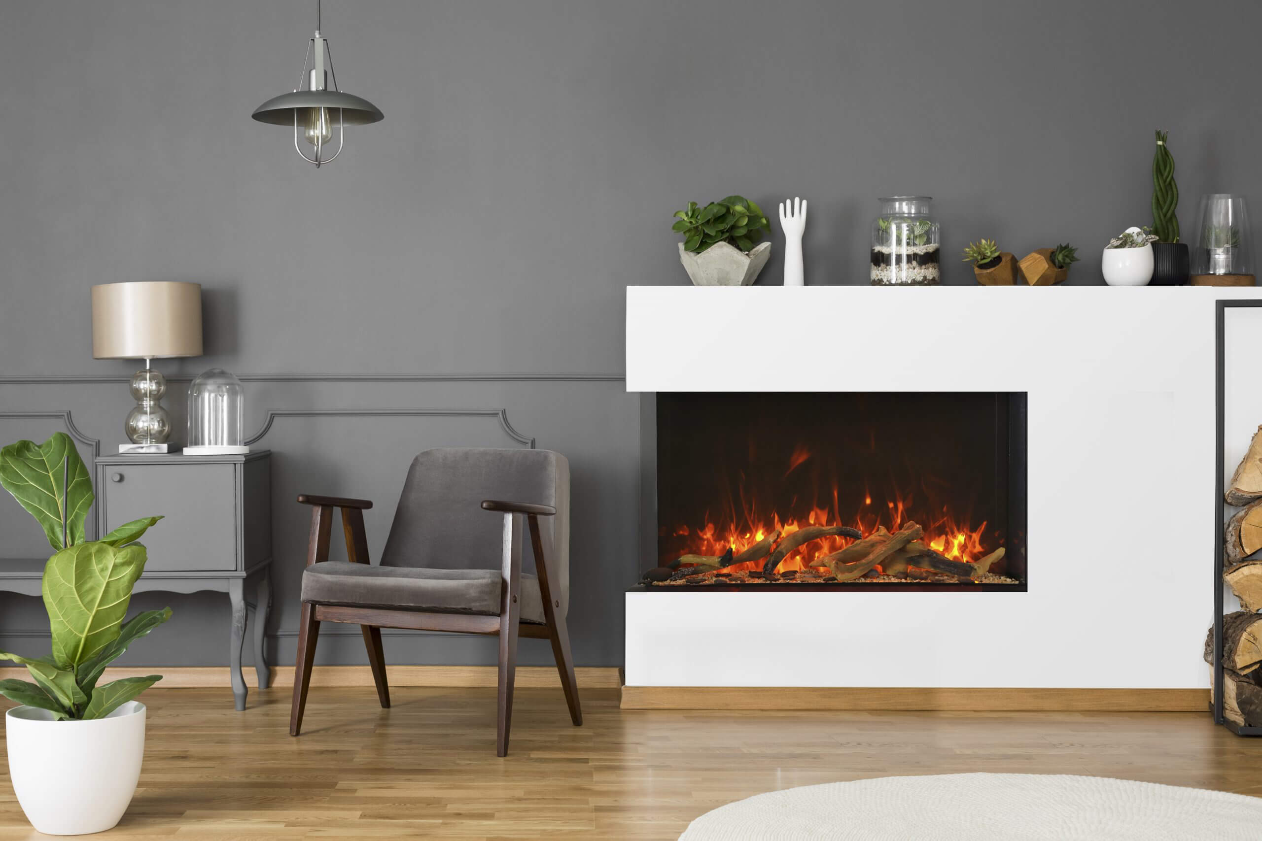 stylish indoor electric fireplace