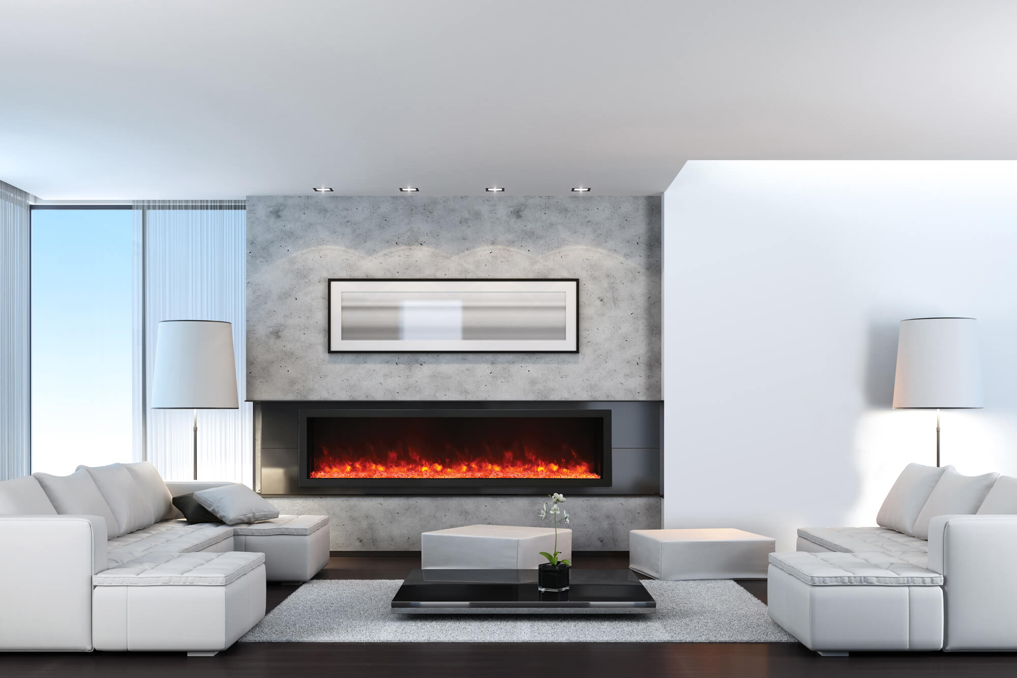 long stylish indoor electric fireplace set into wall
