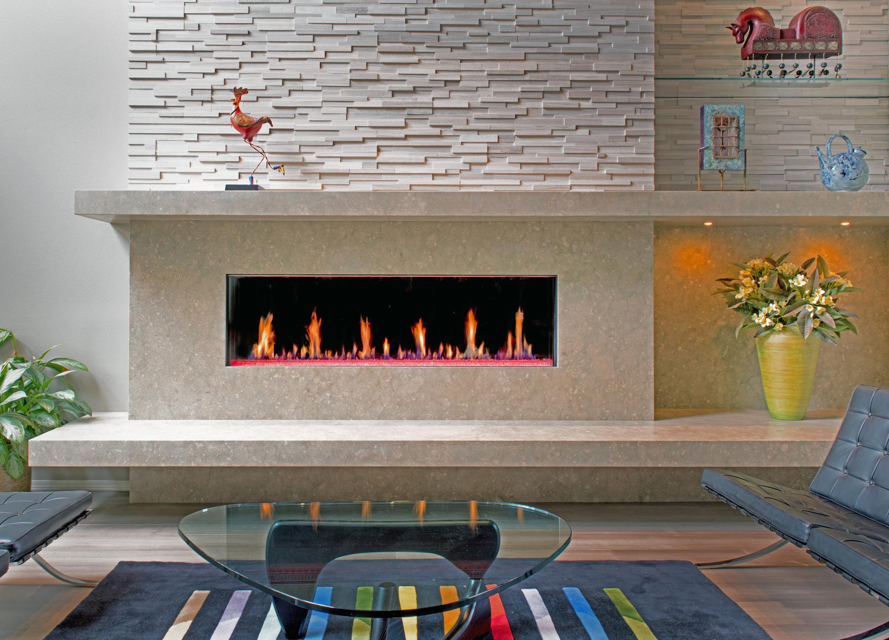 bright indoor custom fireplace set into wall