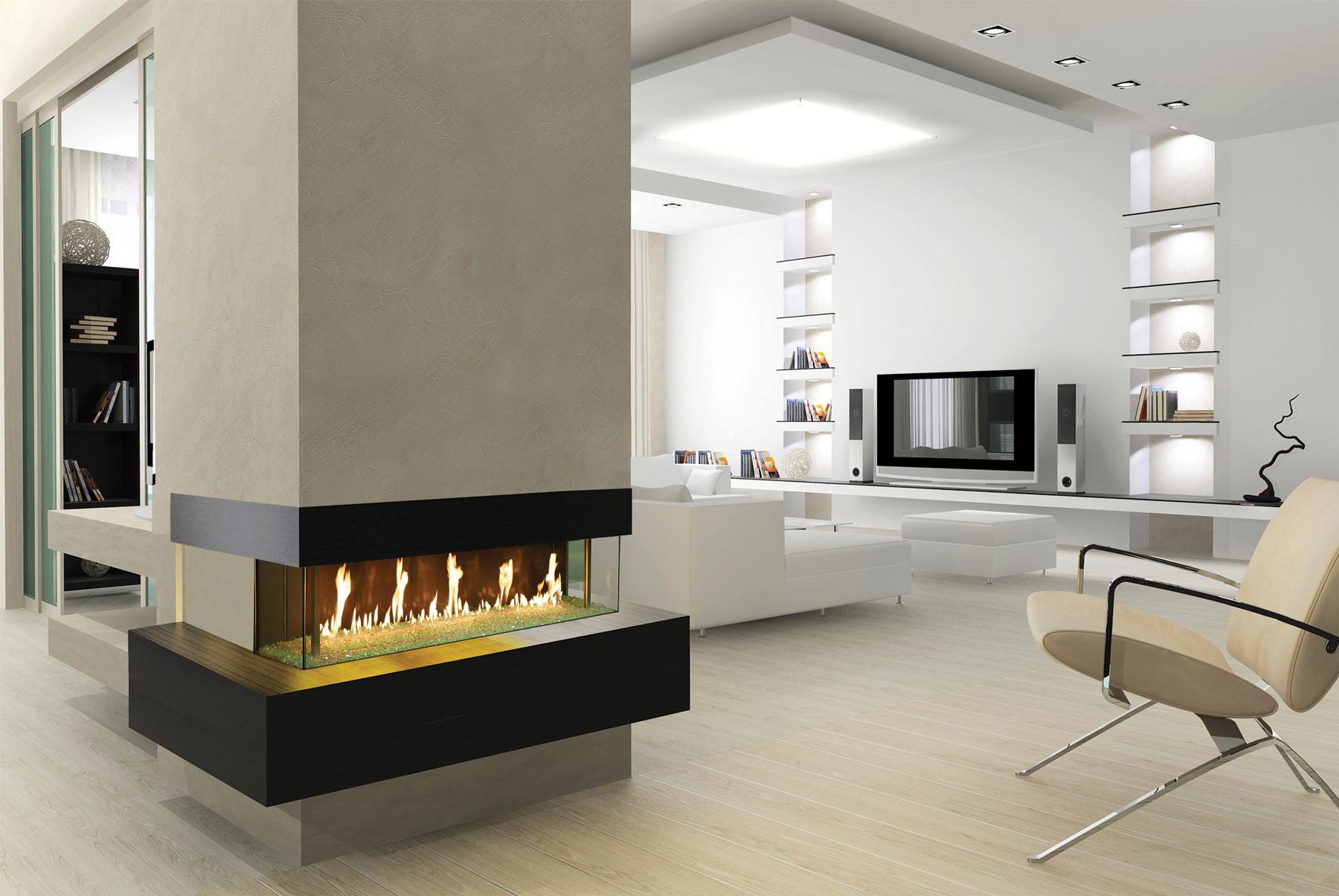 indoor custom fireplace set into wall column